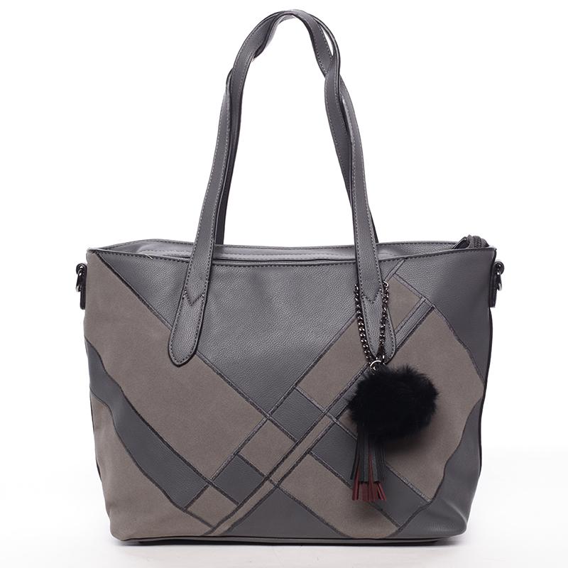 Větší módní dámská kabelka přes rameno šedá - MARIA C Galene