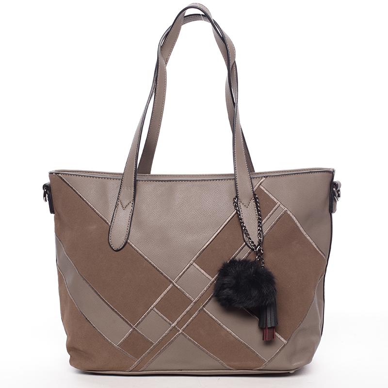 Větší módní dámská kabelka přes rameno taupe - MARIA C Galene
