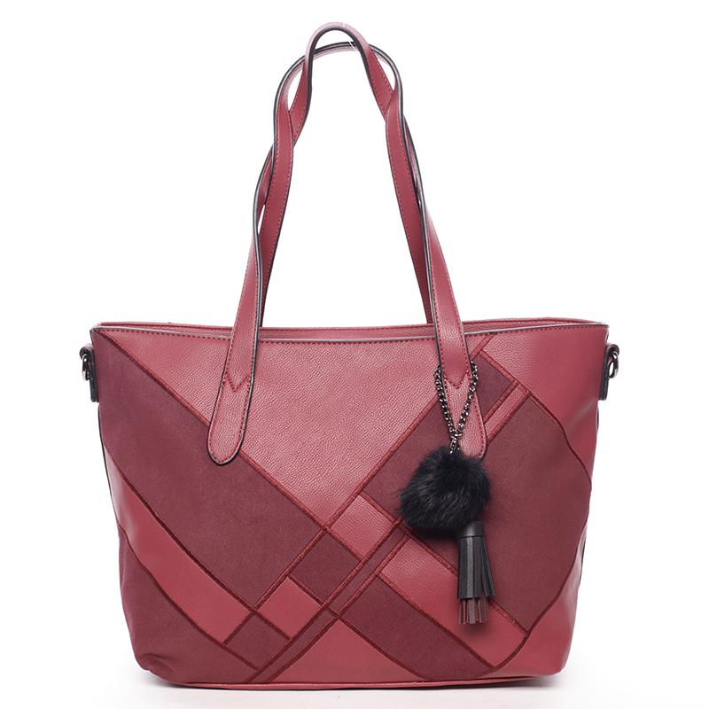 Větší módní dámská kabelka přes rameno vínová - MARIA C Galene