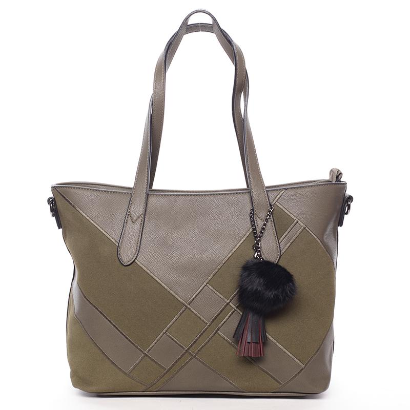 Větší módní dámská kabelka přes rameno tmavě zelená - MARIA C Galene