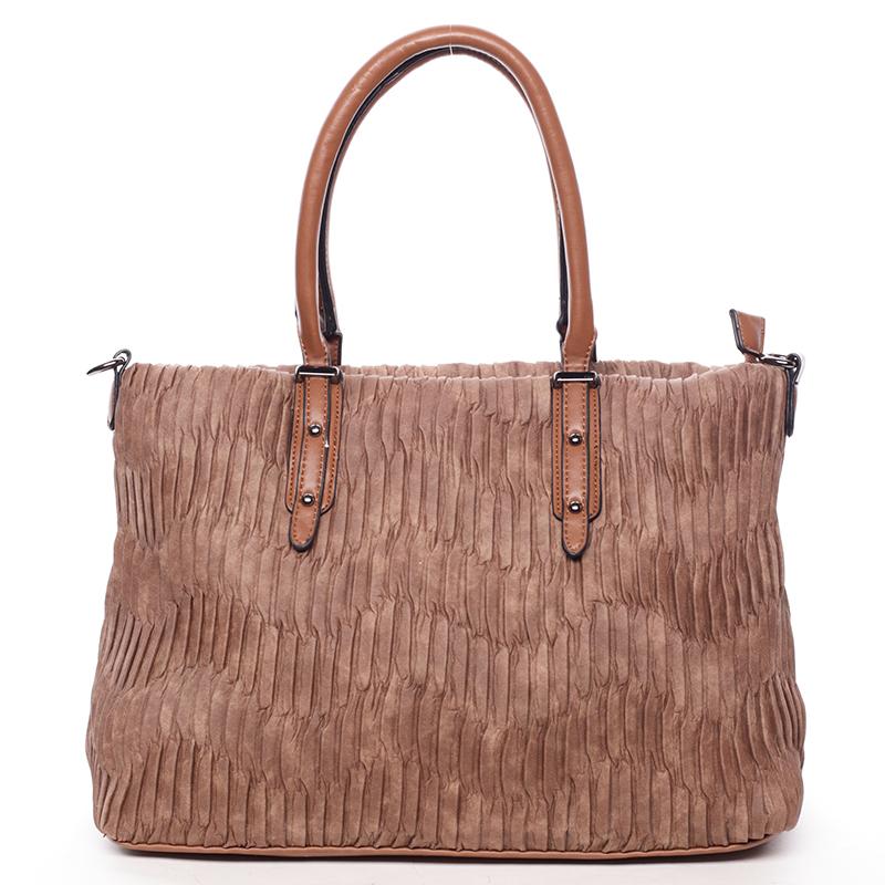 Zvrásněná širší hnědá dámská kabelka - MARIA C Ennea