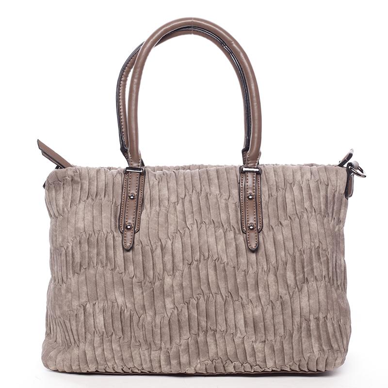 Zvrásněná širší taupe dámská kabelka - MARIA C Ennea