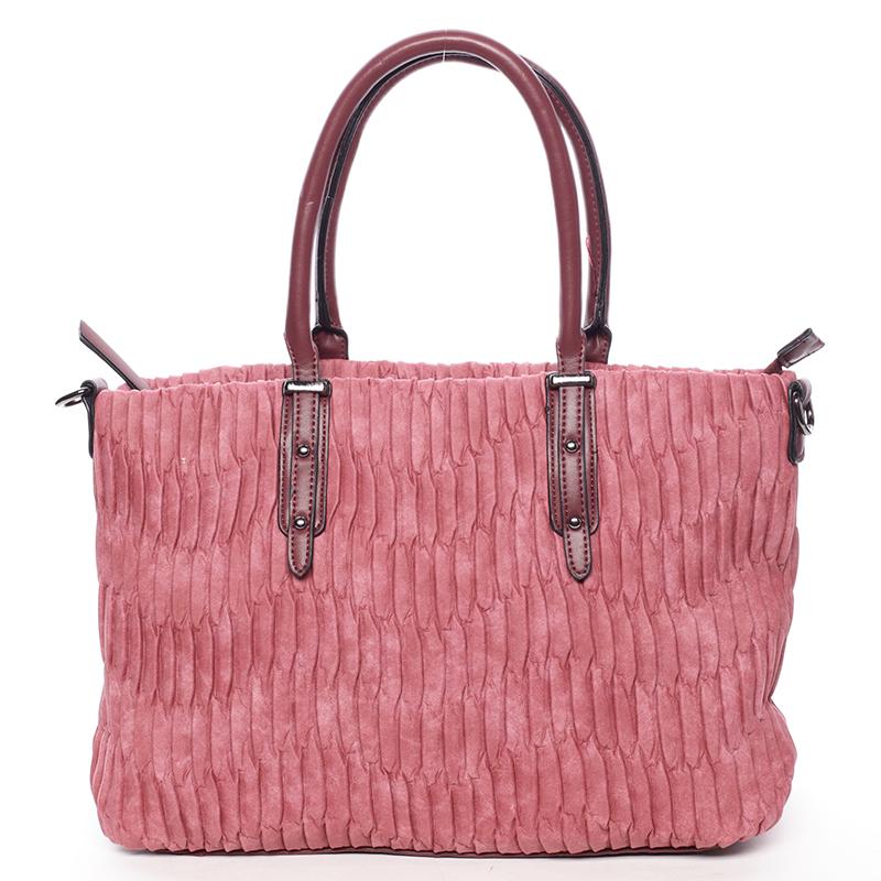 Zvrásněná širší tmavě růžová dámská kabelka - MARIA C Ennea