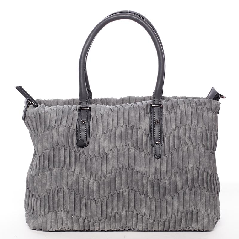 Zvrásněná širší šedá dámská kabelka - MARIA C Ennea
