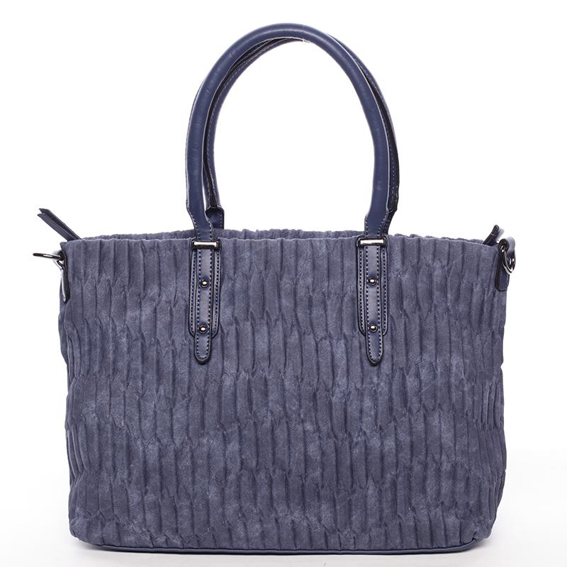 Zvrásněná širší tmavě modrá dámská kabelka - MARIA C Ennea
