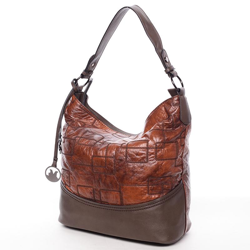 Nadčasová dámská kabelka přes rameno hnědá - MARIA C Elianne