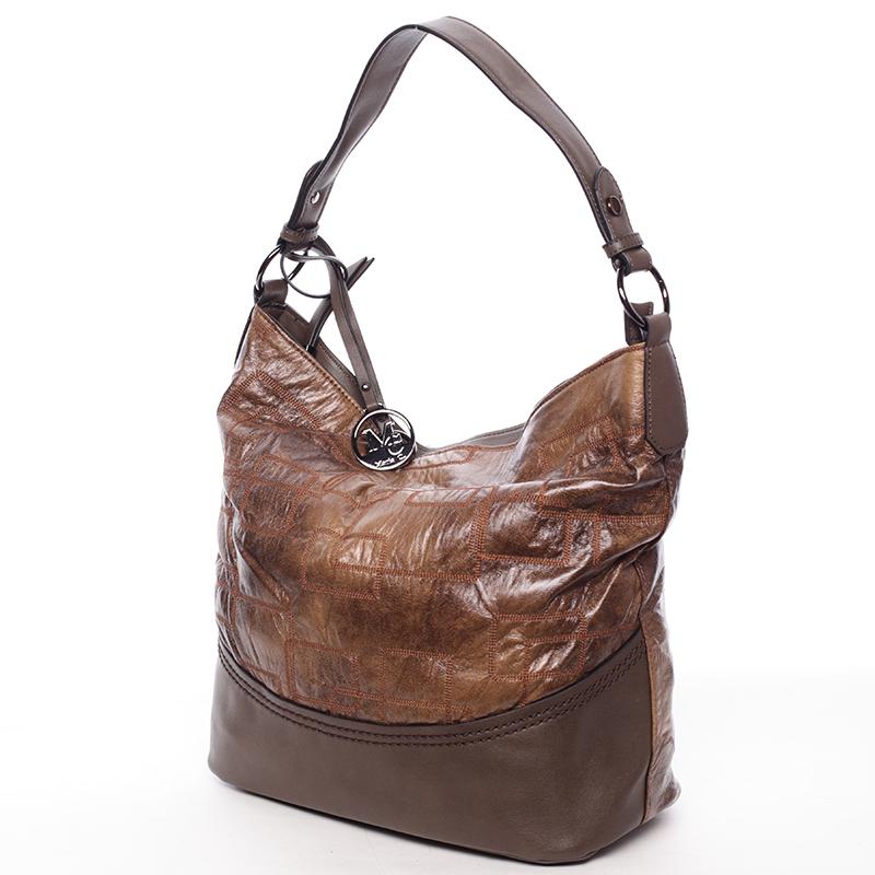 Nadčasová dámská kabelka přes rameno kávově hnědá - MARIA C Elianne