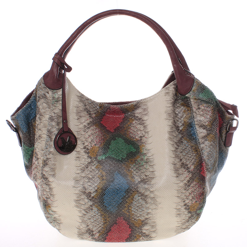 Velká dámská vínová kabelka ve stylu hadí kůže - MARIA C Halcyon