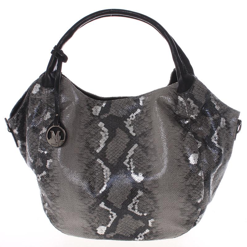 Velká dámská černá kabelka ve stylu hadí kůže - MARIA C Halcyon