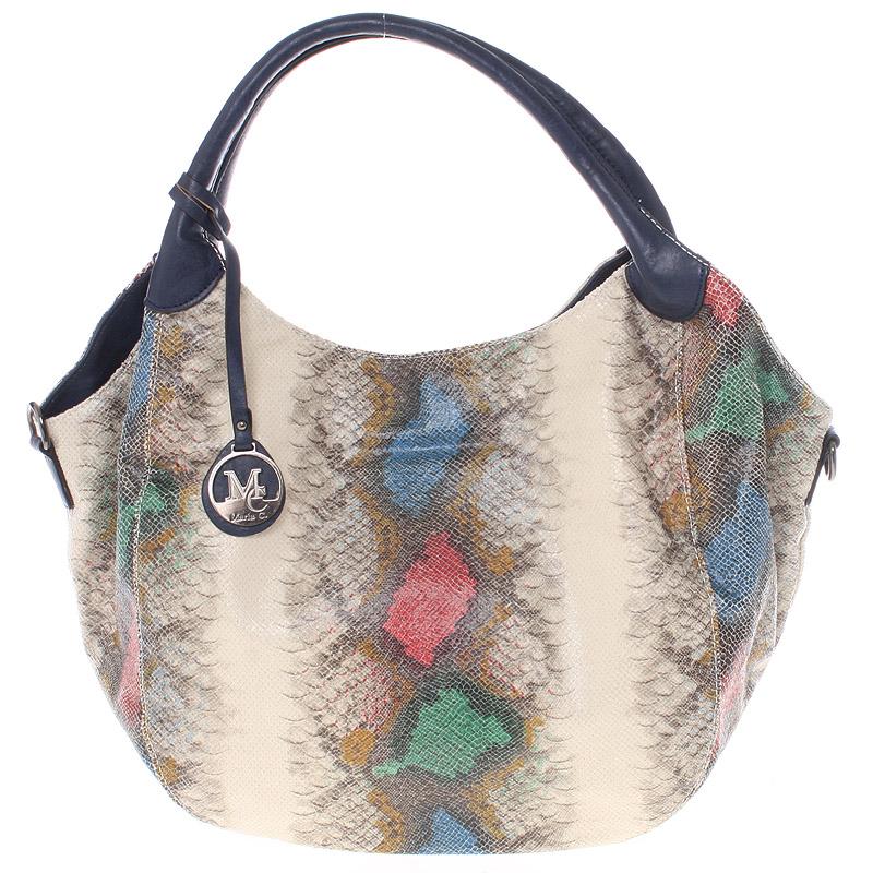 Velká dámská modrá kabelka ve stylu hadí kůže - MARIA C Halcyon