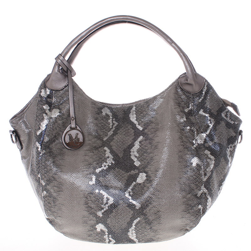 Velká dámská stříbrná kabelka ve stylu hadí kůže - MARIA C Halcyon