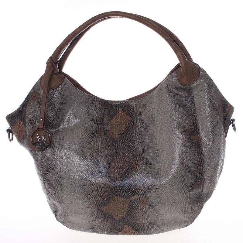 Velká dámská hnědá kabelka ve stylu hadí kůže - MARIA C Halcyon