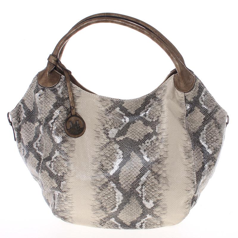 Velká dámská zlatá kabelka ve stylu hadí kůže - MARIA C Halcyon