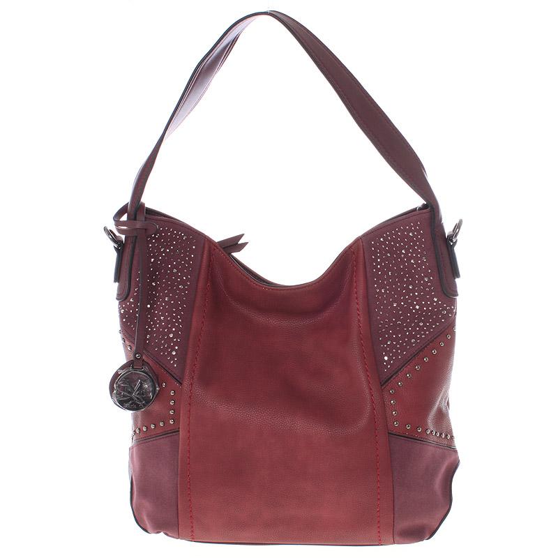 Dámská originální kabelka přes rameno tmavě červená - MARIA C Ecaterina