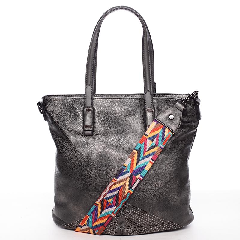 Luxusně stylová dámská tmavě stříbrná kabelka přes rameno - Maria C Eustacia