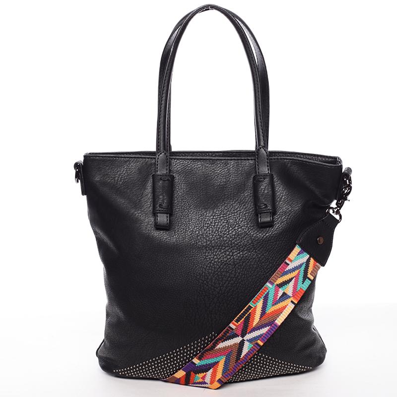 Luxusně stylová dámská černá kabelka přes rameno - Maria C Eustacia