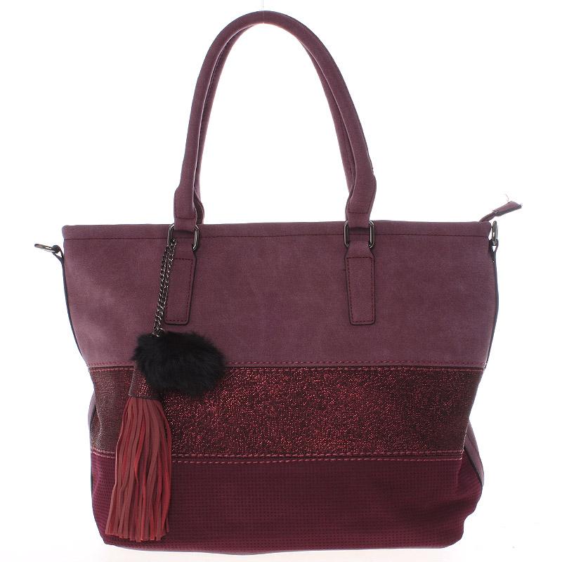Velká módní dámská vínová kabelka přes rameno - MARIA C Gamma