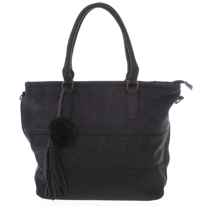 Velká módní dámská černá kabelka přes rameno - MARIA C Gamma
