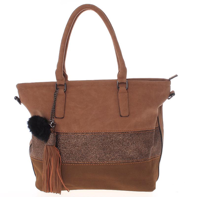 Velká módní dámská hnědá kabelka přes rameno - MARIA C Gamma