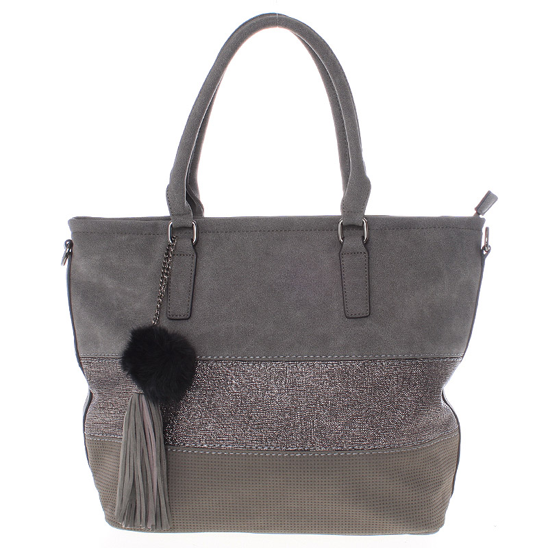 Velká módní dámská šedá kabelka přes rameno - MARIA C Gamma