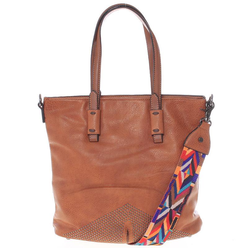 Luxusně stylová dámská hnědá kabelka přes rameno - Maria C Eustacia