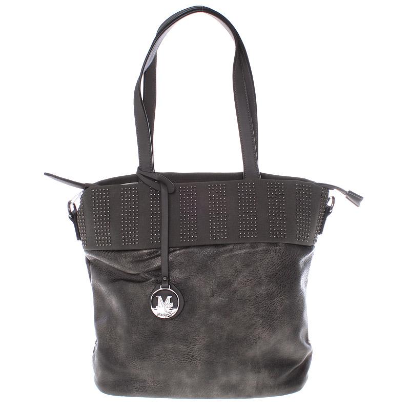Dámská stylová kabelka přes rameno tmavá stříbrná - Maria C Erytheia