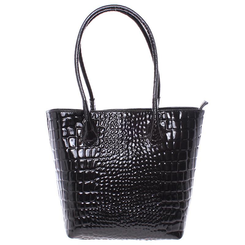 Jedinečná větší černá kožená kabelka - ItalY Luciana