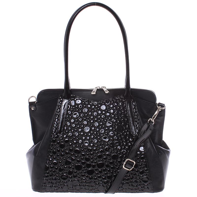Elegantní středně velká černá kožená kabelka - ItalY Gemma