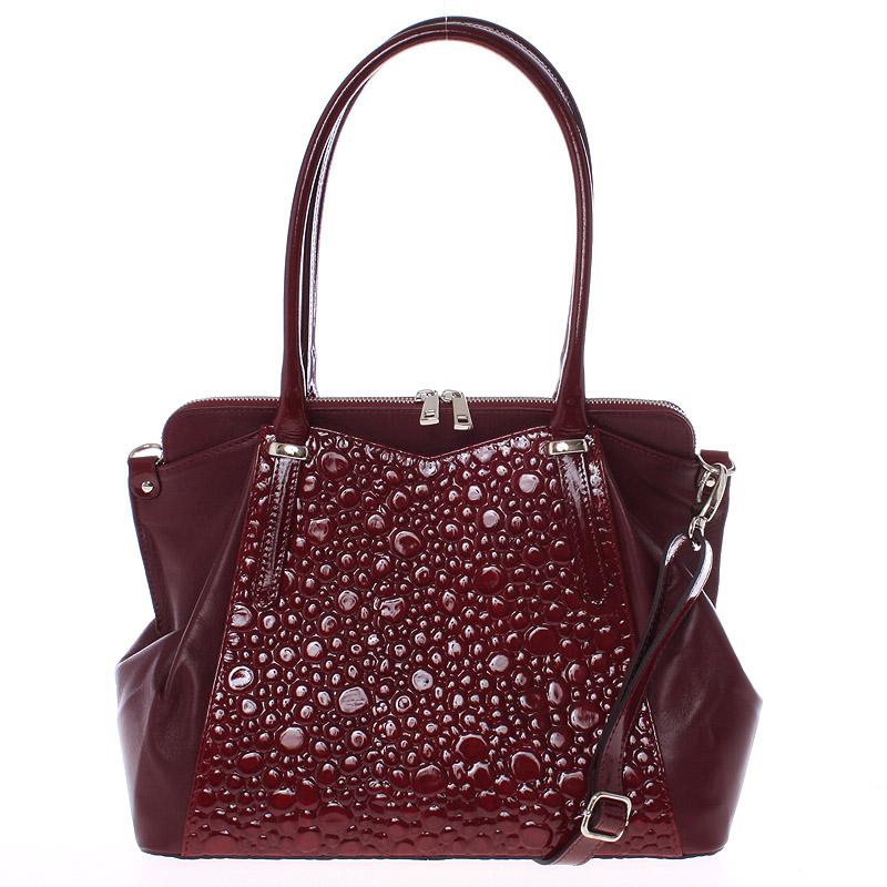 Elegantní středně velká vínová kožená kabelka - ItalY Gemma