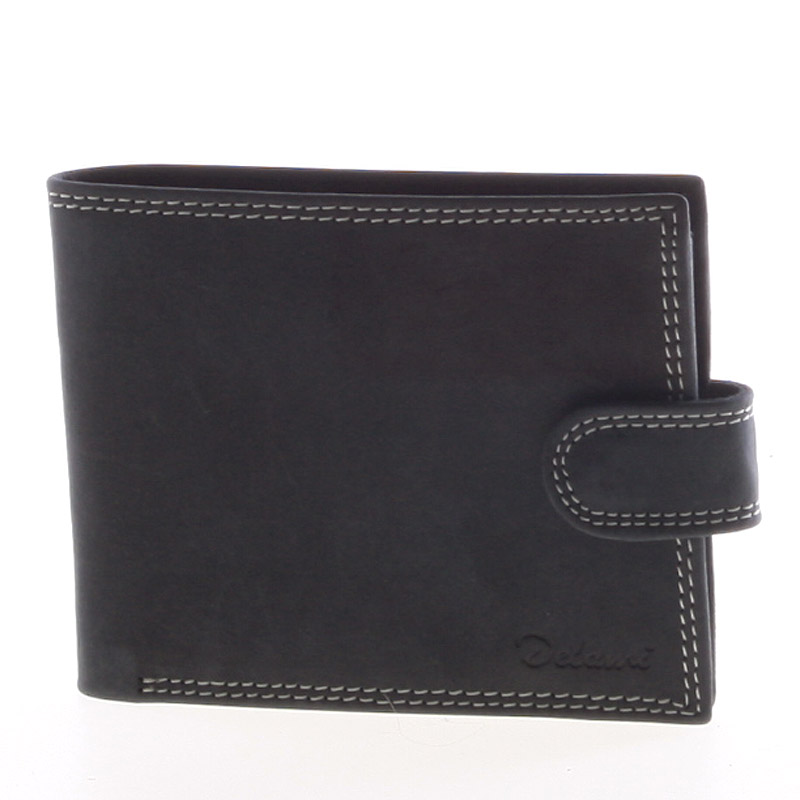 Pánská kožená černá prošívaná peněženka - Delami 8945