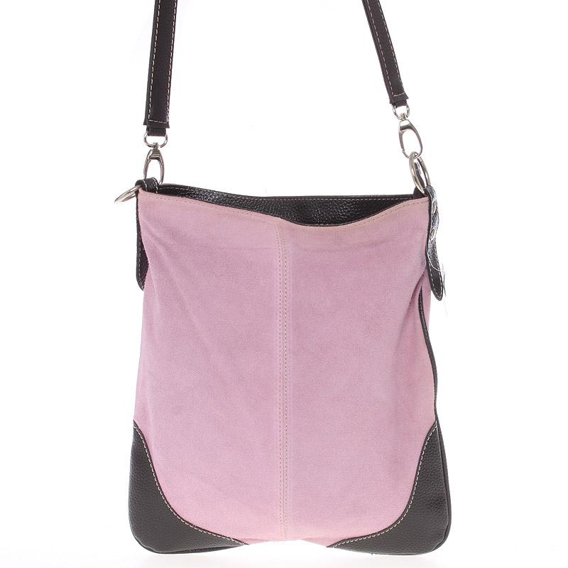 Dámská kožená crossbody kabelka světle růžová - ItalY 10062