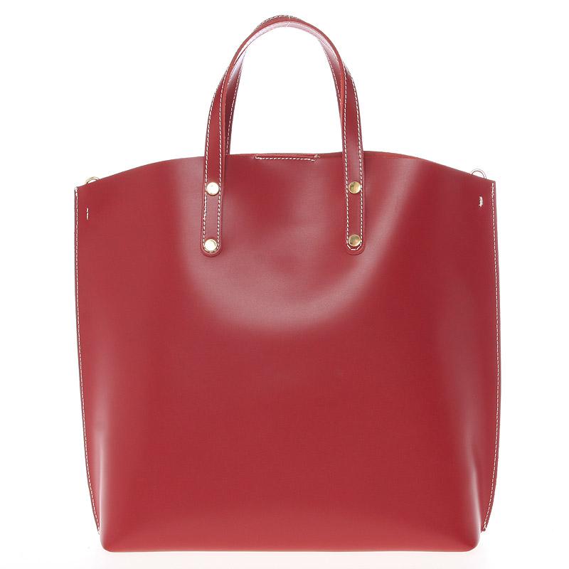 Červená kožená kabelka do ruky - ItalY Sydney