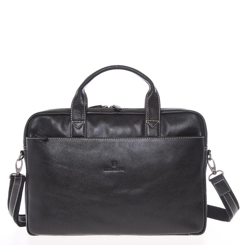 Kožená prošívaná business taška černá - Hexagona 23478