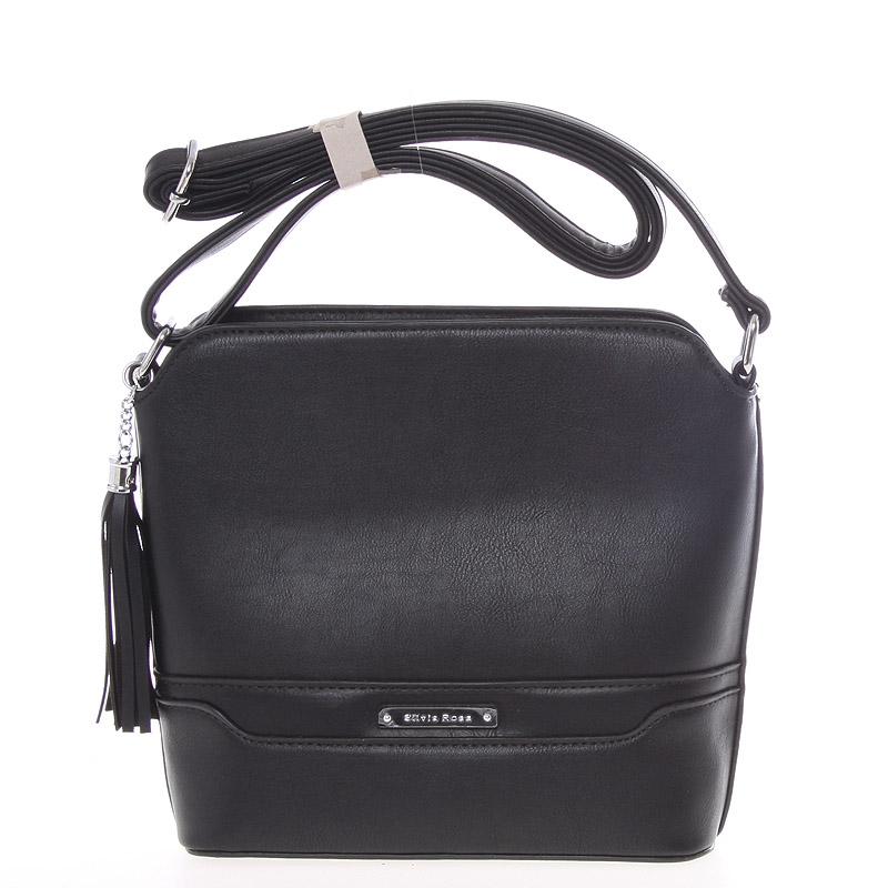 Elegantní černá crossbody kabelka s přívěskem - Silvia Rosa Kait