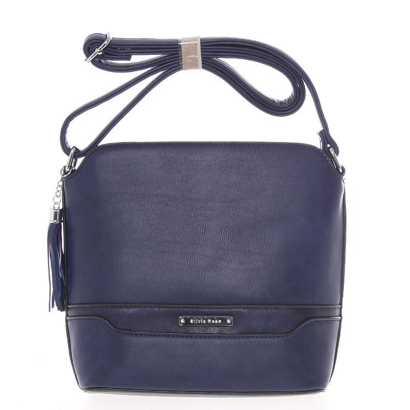 Elegantní tmavě modrá crossbody kabelka s přívěskem - Silvia Rosa Kait