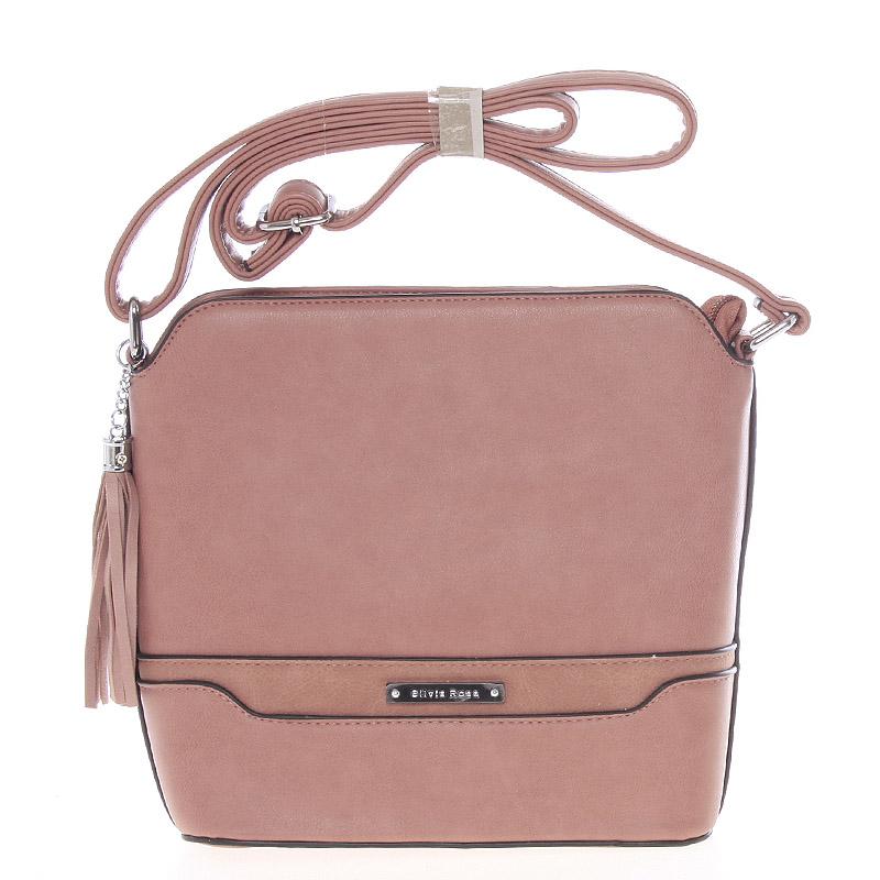 Elegantní růžová crossbody kabelka s přívěskem - Silvia Rosa Kait