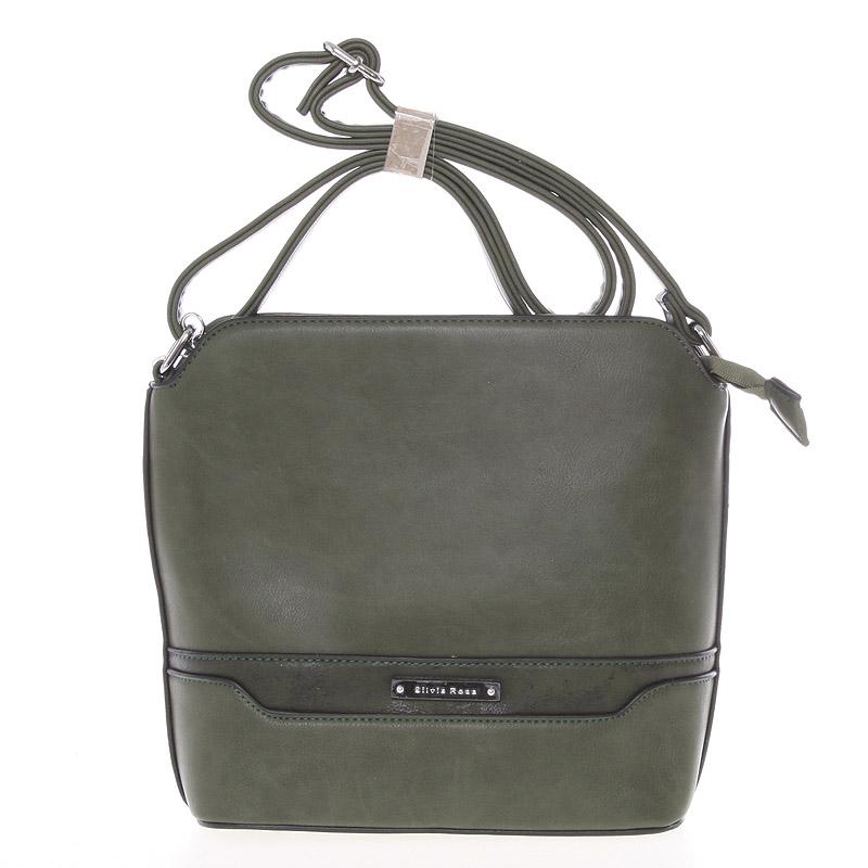 Elegantní tmavě zelená crossbody kabelka s přívěskem - Silvia Rosa Kait