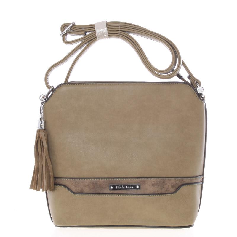 Elegantní khaki crossbody kabelka s přívěskem - Silvia Rosa Kait