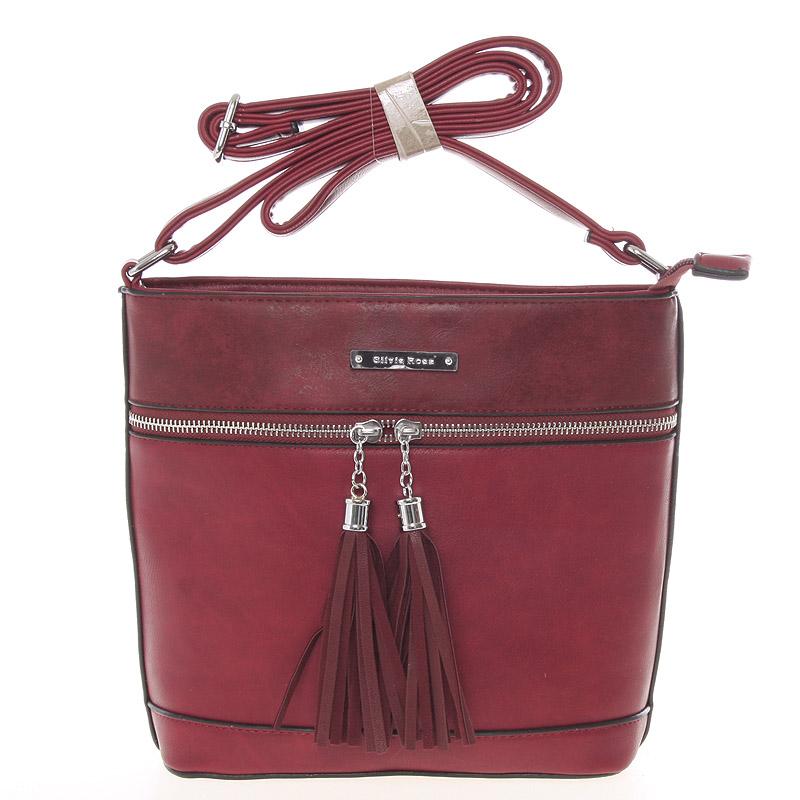 Módní crossbody kabelka červeně vínová - Silvia Rosa Jenoa