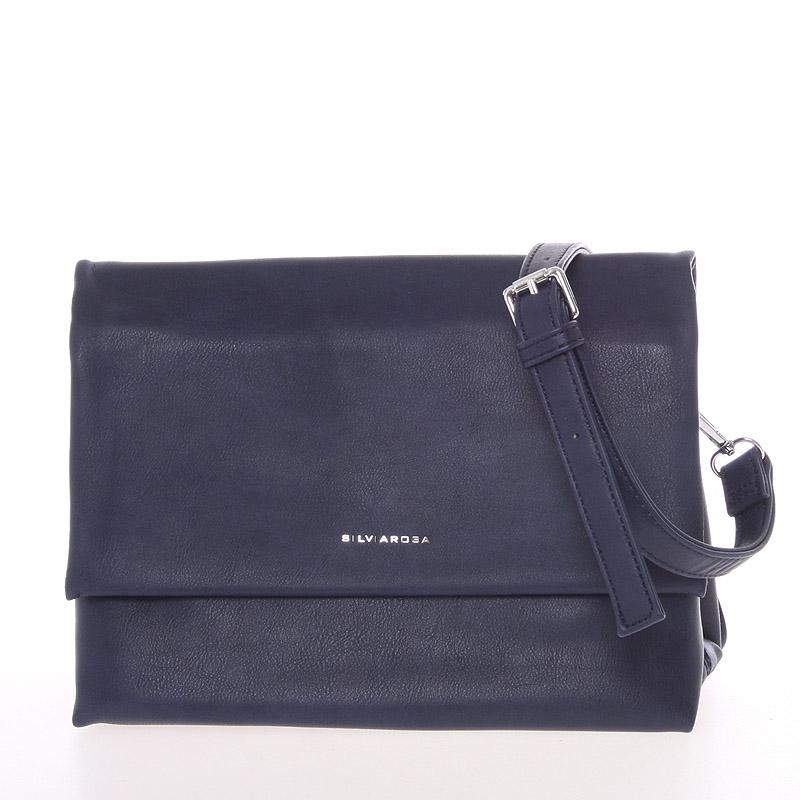 Měkká tmavě modrá duální crossbody kabelka s klopou - Silvia Rosa Junia