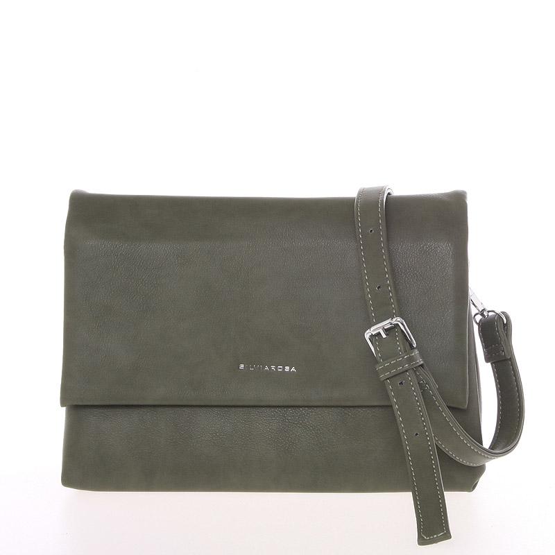 Měkká tmavě zelená duální crossbody kabelka s klopou - Silvia Rosa Junia