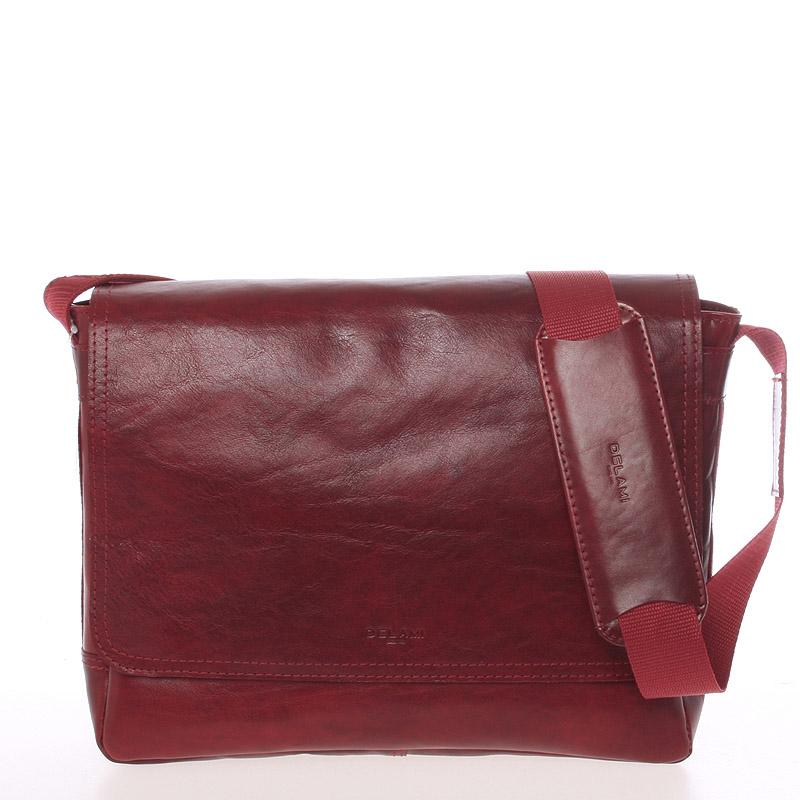 Červená středně velká kožená taška přes rameno - Delami 1249