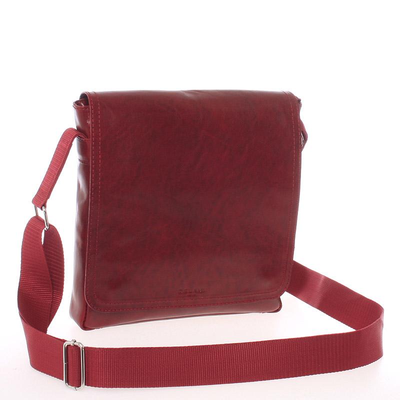 Červená elegantní crossbody kožená taška - Delami 1172