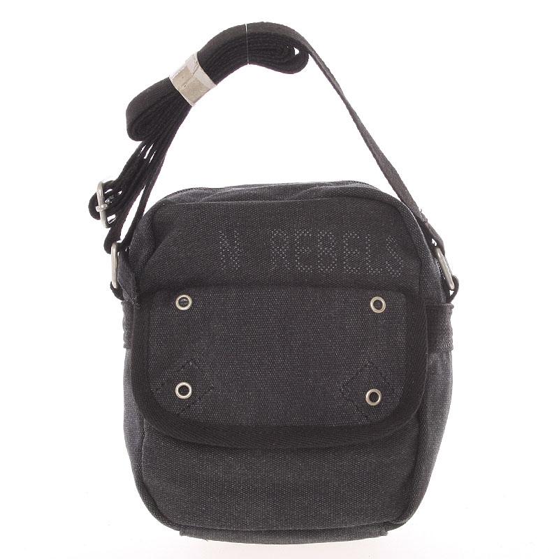 Moderní pánská látková černá kabelka na doklady - New Rebels Conor