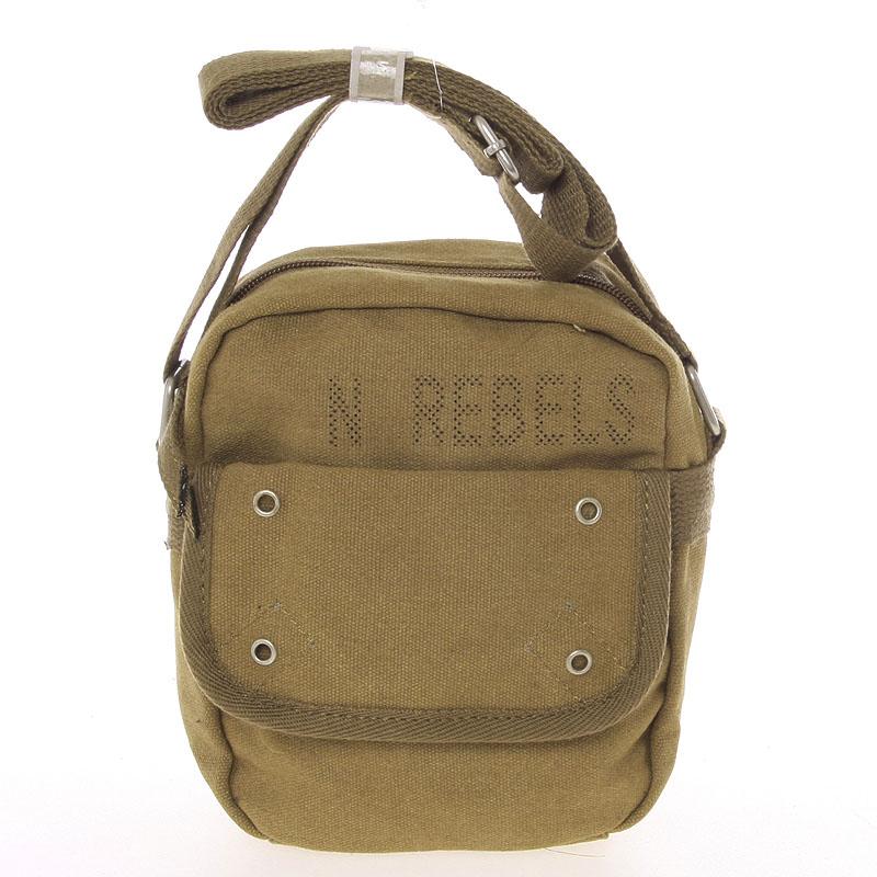 Moderní pánská látková khaki kabelka na doklady - New Rebels Conor
