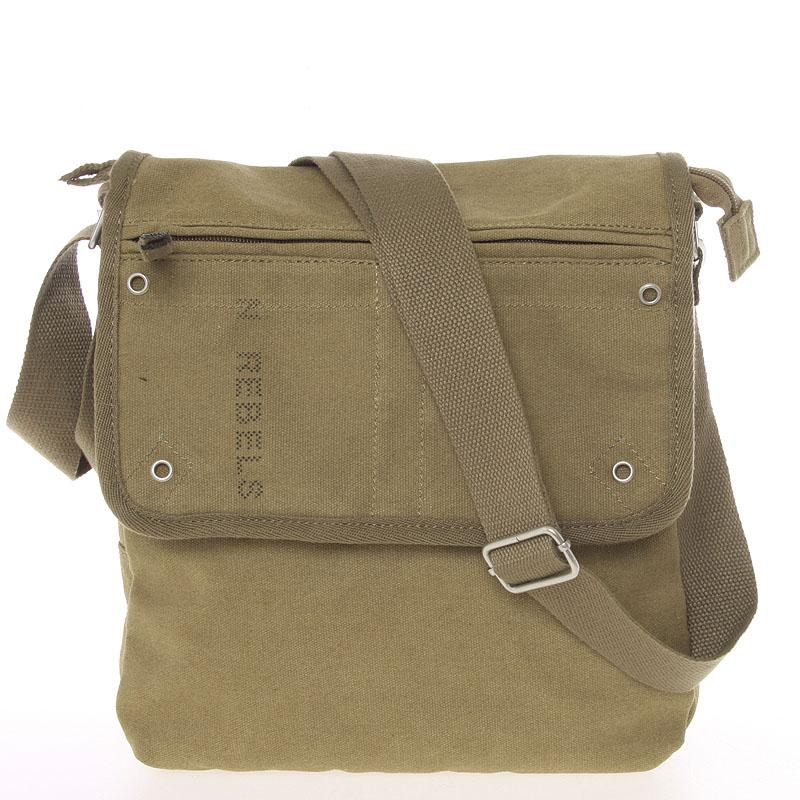 Moderní pánská látková khaki kabelka přes rameno - New Rebels Trevon