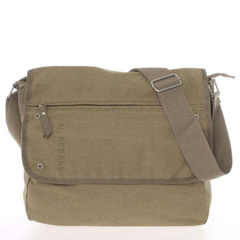 Unisex módní látková khaki crossbody taška - New Rebels Collins