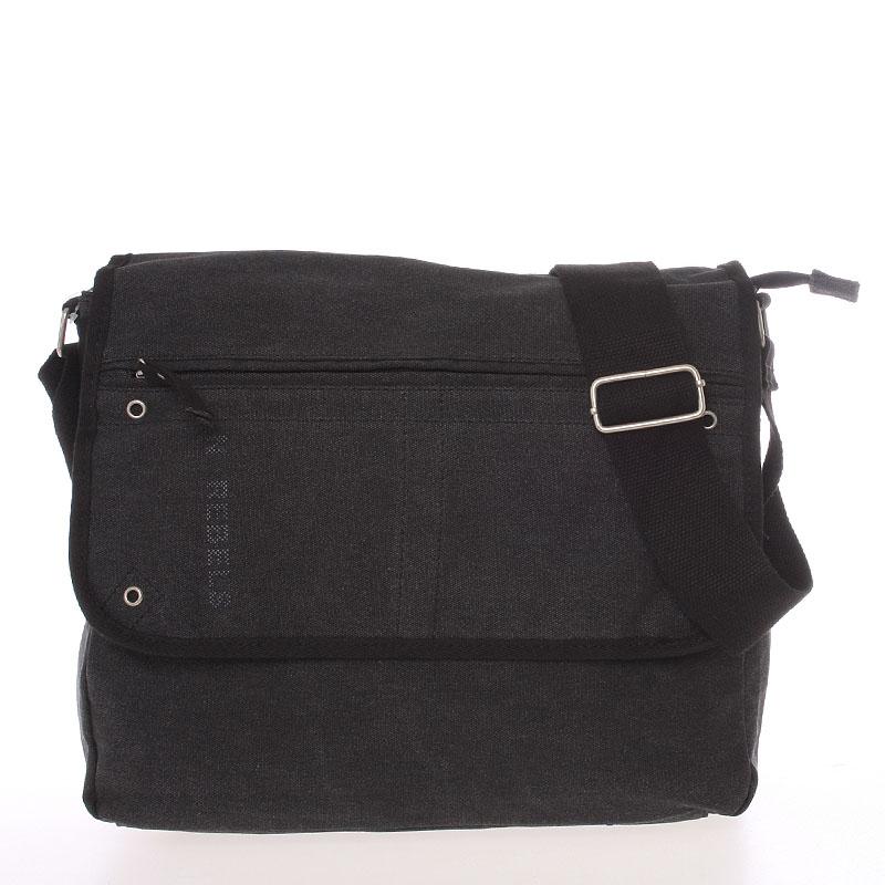 Unisex módní látková černá crossbody taška - New Rebels Collins