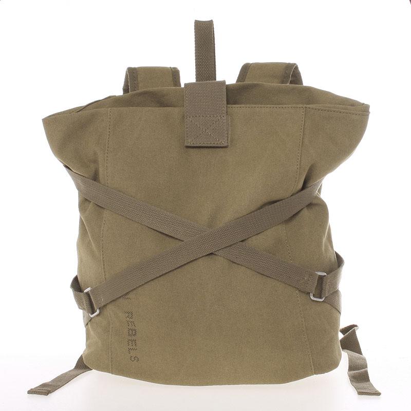 Unisex moderní látkový khaki batoh - New Rebels Kinley