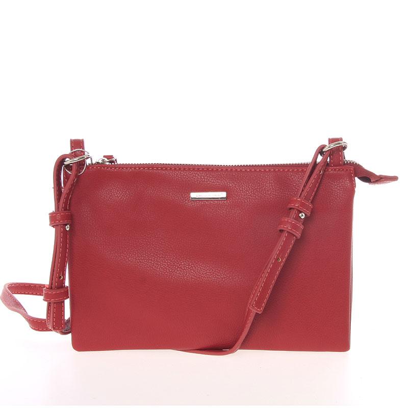 Stylová dámská listová crossbody kabelka červená - David Jones Efful